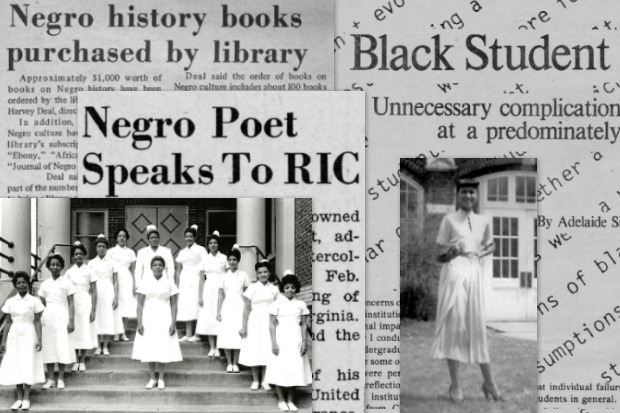 Montage of African-American articles and oral histories from Special Collections and Archives