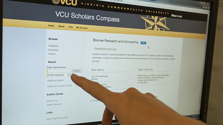A screen shot of the entry page to the new Scholars Compass institutional repository for VCU.