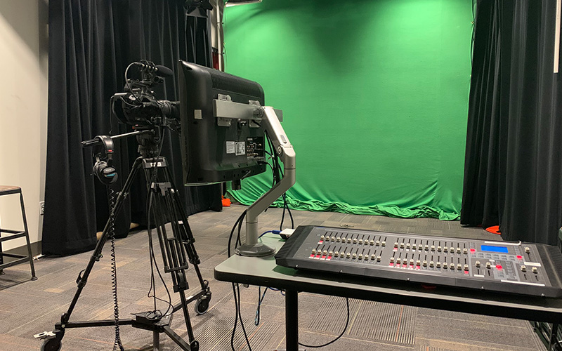 A picture from the desk in the video studio in Innovative Media of Cabell Library.