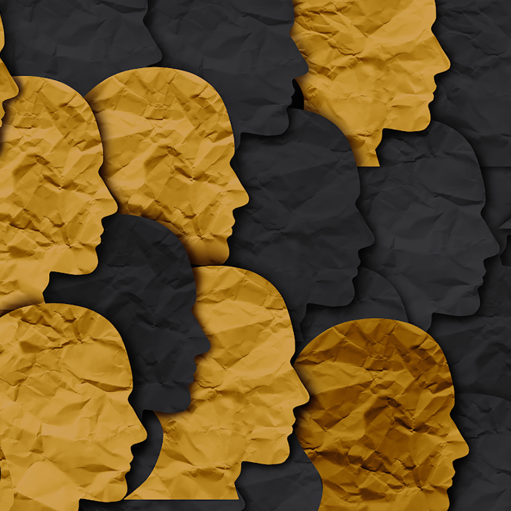Silhouettes of people, some gold and some black, with a crumpled paper texture.